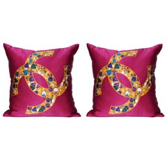 Pair of Vintage Chanel Silk Scarf with Jewels and Irish Linen Cushions Pillows