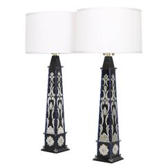 Pair of Monumental Venetian Mirror Obelisk Lamps