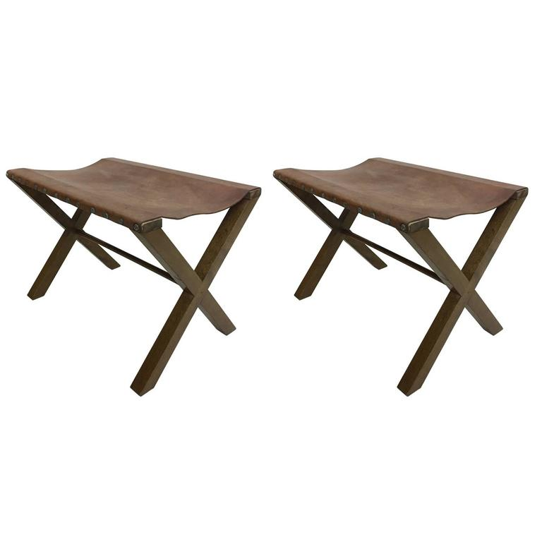 2 Wood and Studded Leather French X-Frame Benches Style Jean Michel Frank 1