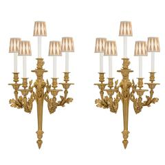 French 19th Century Louis XVI St. Ormolu Sconces, Signed by Henri Dasson