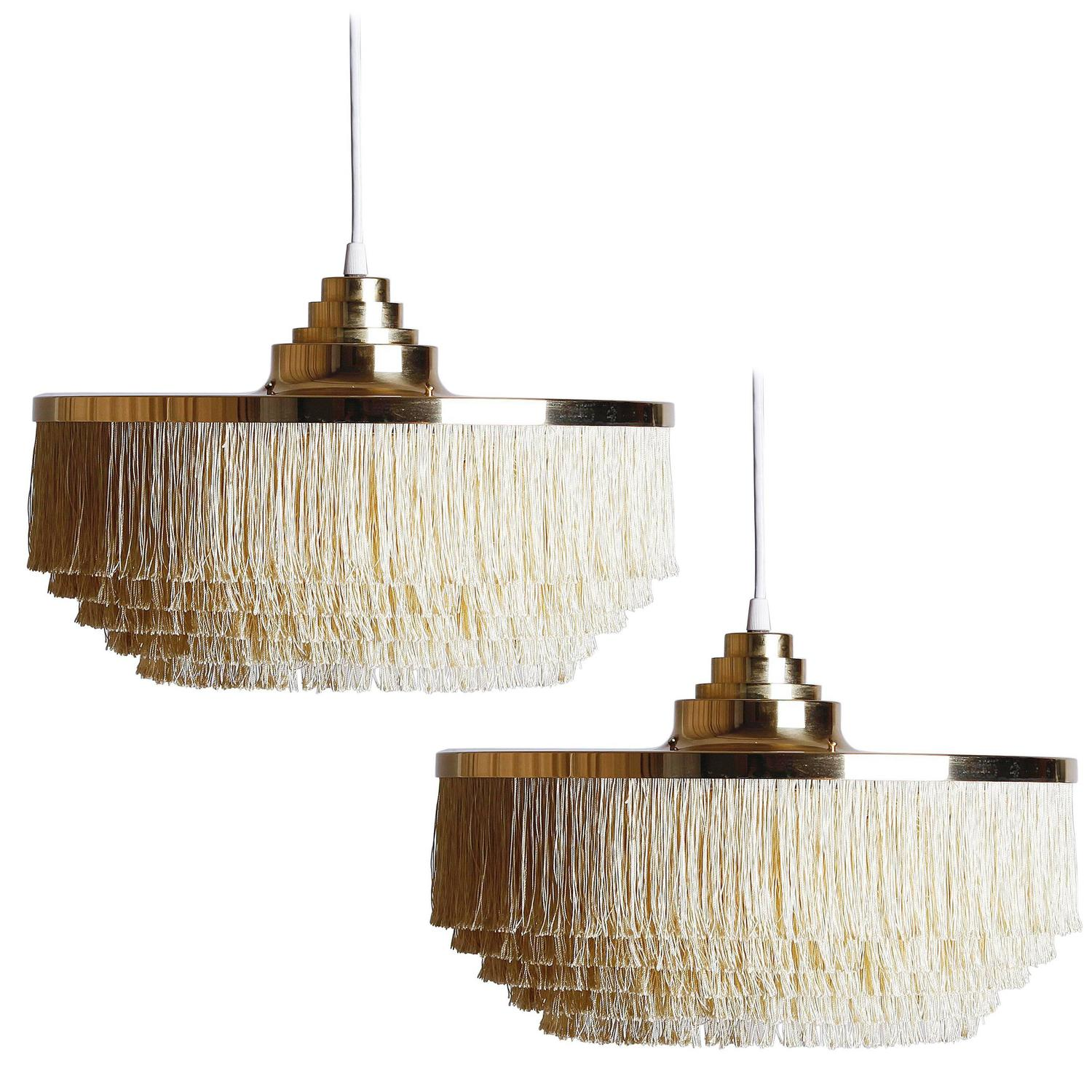 Pair of floor lamps produced by falkenbergs belysning ab in sweden at - Pair Of Silk Fringe Brass Pendant Lamps By Hans Agne Jakobsson At 1stdibs
