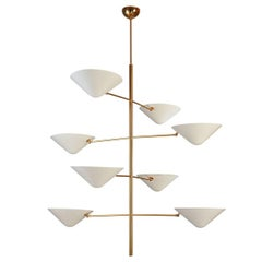 Impressive Tall Polished Brass and Enameled Metal Chandelier
