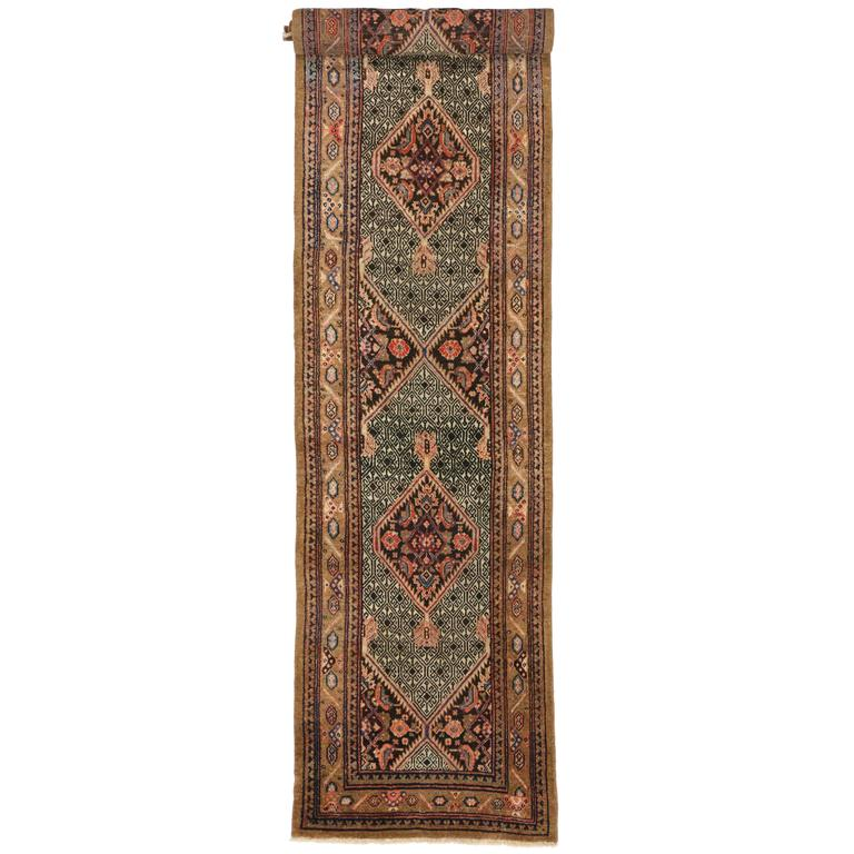 Camel Hair Antique Persian Malayer Carpet Runner with Modern Style