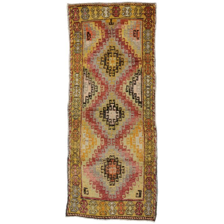 Antique Turkish Oushak Carpet Runner with Modern Design in Vibrant Colors
