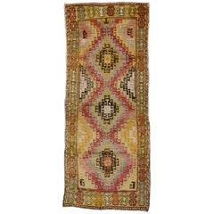 Rustic Style Vintage Turkish Oushak Runner with Tribal Style, Hallway Runner