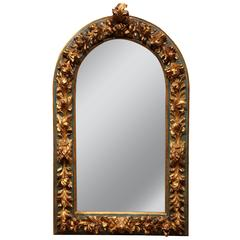 Large Mid-19th Century Spanish Baroque Carved Polychrome Mirror with Gilt