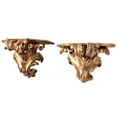 Pair of Italian Gilt-Carved Brackets