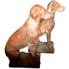 Pair of Lifesize Italian Terracotta Hunting Dogs