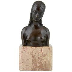 American Art Deco Bronze Bust of a Female Nude by Simon Moselsio 1930