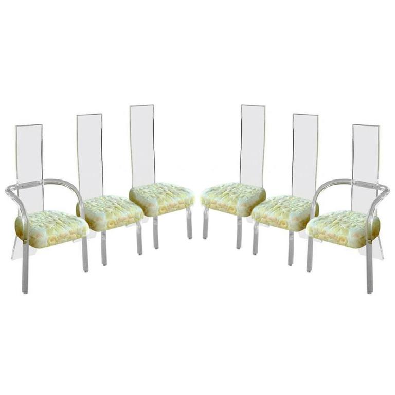 Six High Back Lucite Dining Chairs by Charles Hollis Jones
