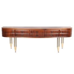 Mid-Century Italian Palisander and Cherrywood Sideboard on High Metal Feets