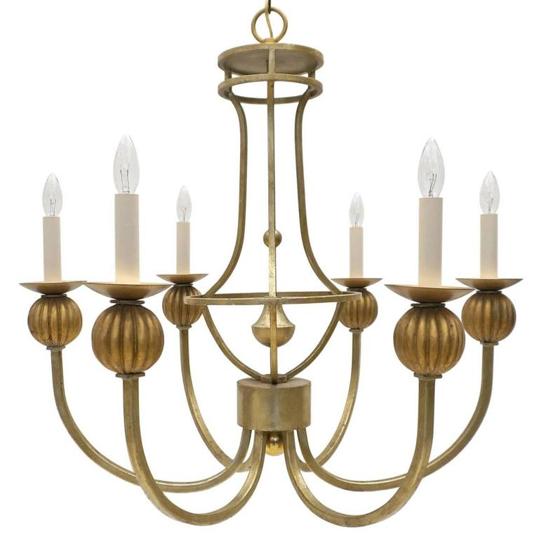 Six-Arm Gold Metal and Giltwood Chandelier, France, circa 1950