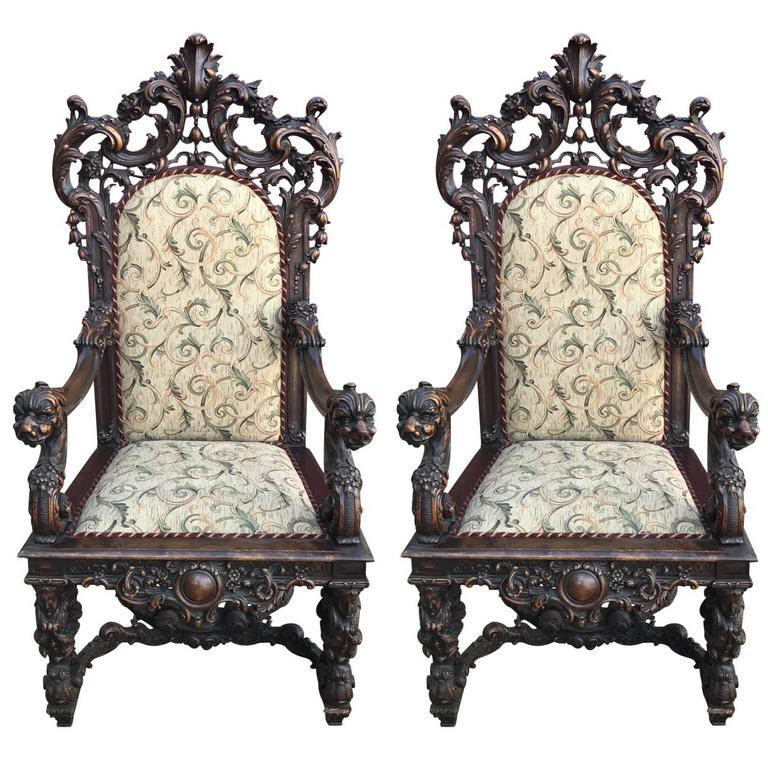 Highly Carved Pair Of Rococo Throne Chairs With Cream Cushions For