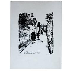 Maurice Utrillo lithograph Rue St Vincent, France, 1927