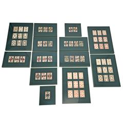 Collection of 62 Piatnik Playing Cards, 13 Framed Pieces, Austrian, 19th Century
