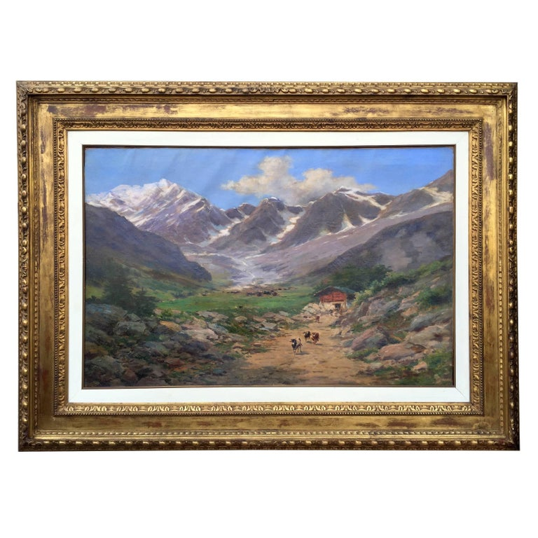 Large Italian Landscape Early 20th Century Mountain Painting by Silvio Poma  For Sale