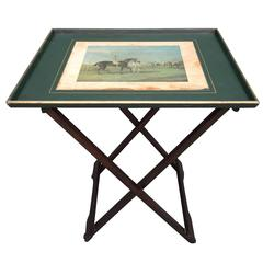 Vintage English Wood Bar Tray Table with Decoupage Equestrian Print Decoration.