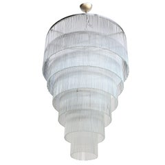 Six-Tiered Glass Rod Chandelier, 1970s