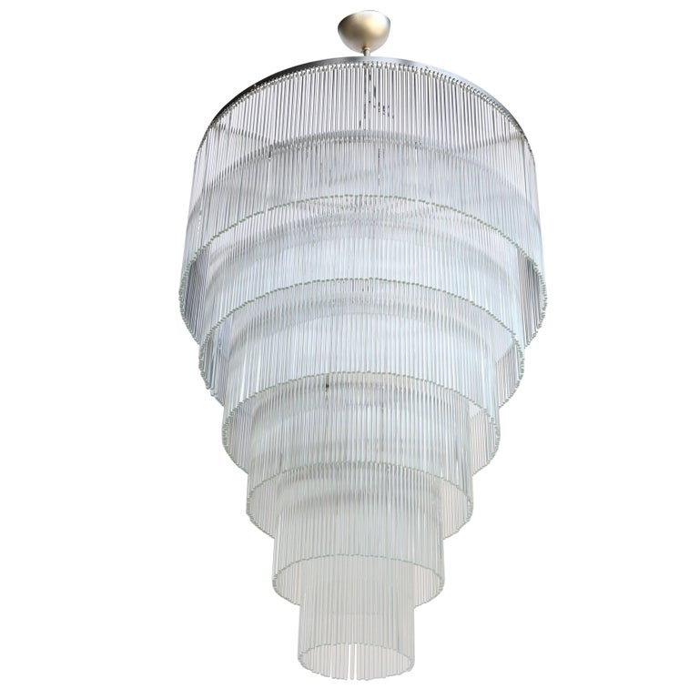 Six-Tiered Glass Rod Chandelier, 1970s 1