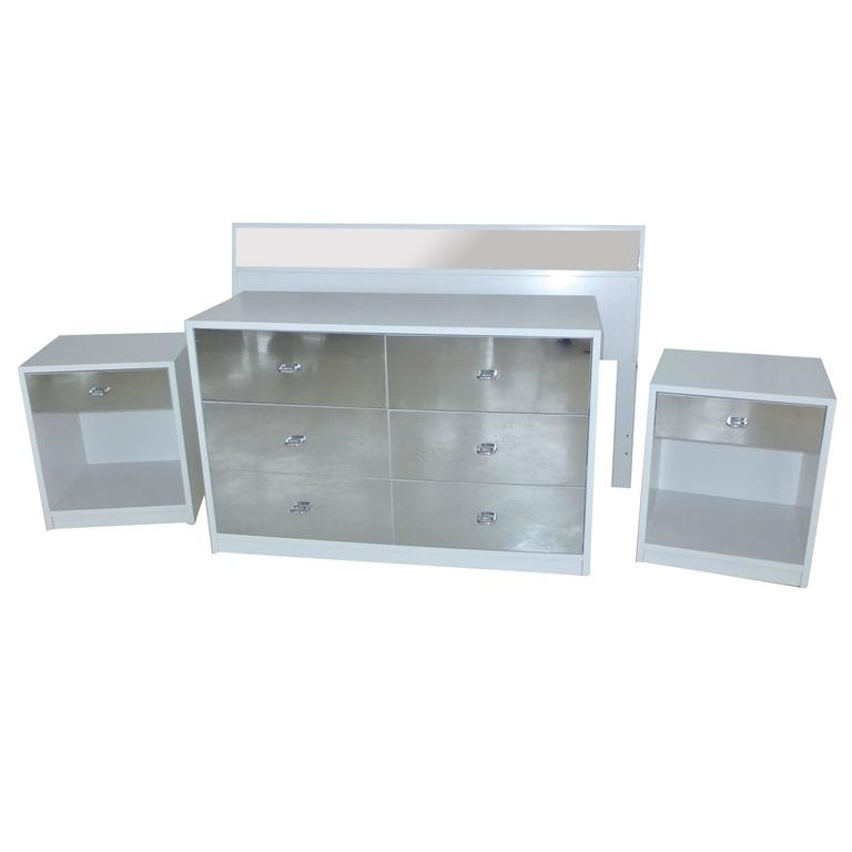 Charak Modern White and Mirror Bedroom Set For Sale at 1stdibs