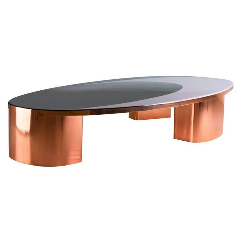 21st century european copper and resin inlay oval shaped for Oval copper coffee table
