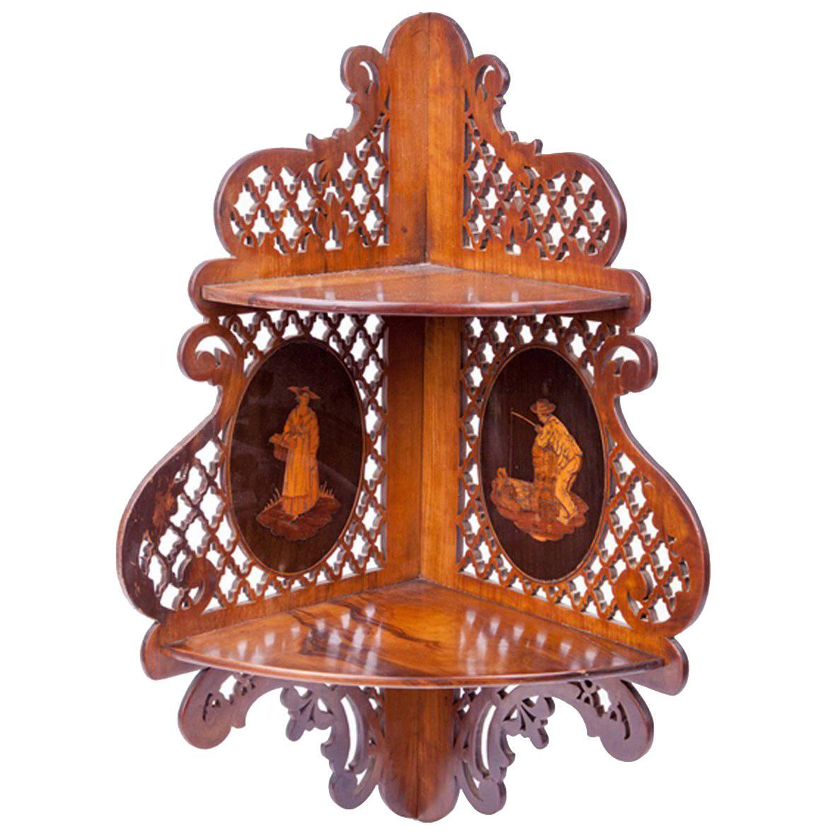 19th Century Mahogany Corner Bracket with Inlaid Vignettes