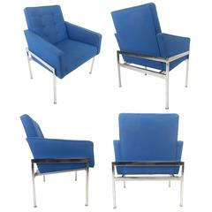 Pair of Mid-Century Modern Chrome Frame Tufted Lounge Chairs