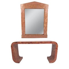 Maitland-Smith Marble Console Table With Hall Mirror