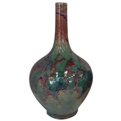 Burgundy and Turquoise Glazed Vase, China, Contemporary