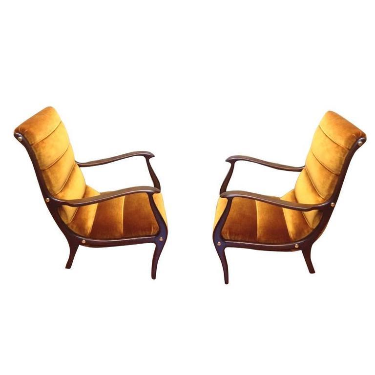 Ezio Longhi Lounge Chairs bronze velvet circa 1960s, Completely Restored