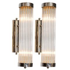 Pair of 'Venini' Chrome Arm Wall Lights