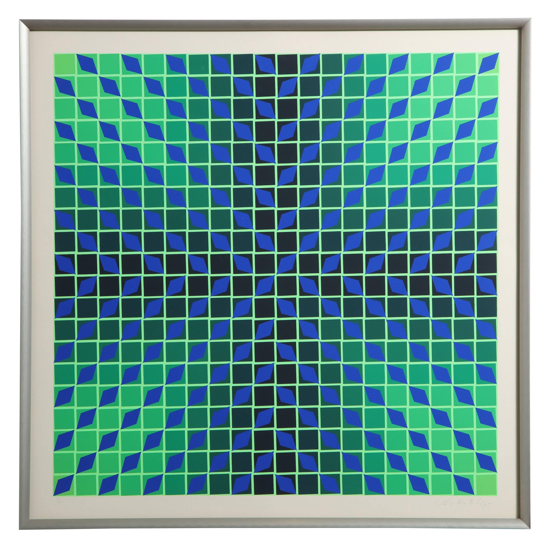 Victor Vasarely Op Art Framed Serigraph