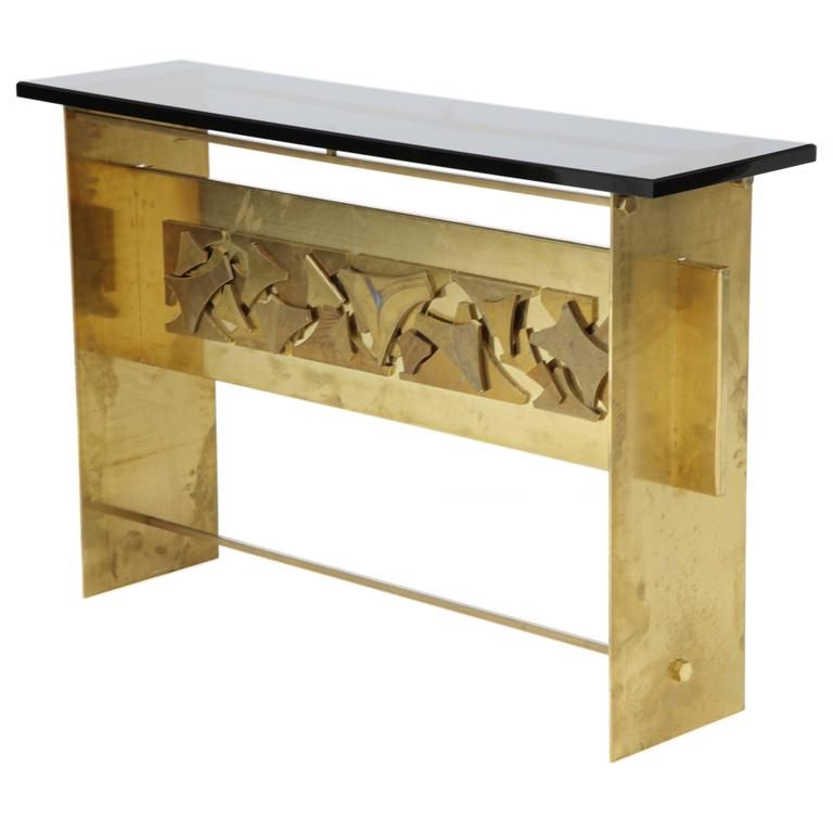 Italian Brutalist Style Brass Console with Smoke Gray Lucite Top For Sale