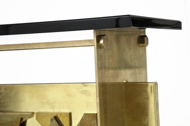 Italian Brutalist Style Brass Console with Smoke Gray Lucite Top 5