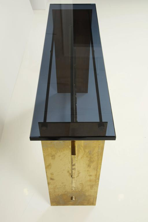 Contemporary Italian Brutalist Style Brass Console with Smoke Gray Lucite Top For Sale
