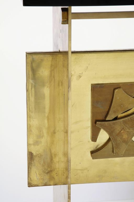 Italian Brutalist Style Brass Console with Smoke Gray Lucite Top 10