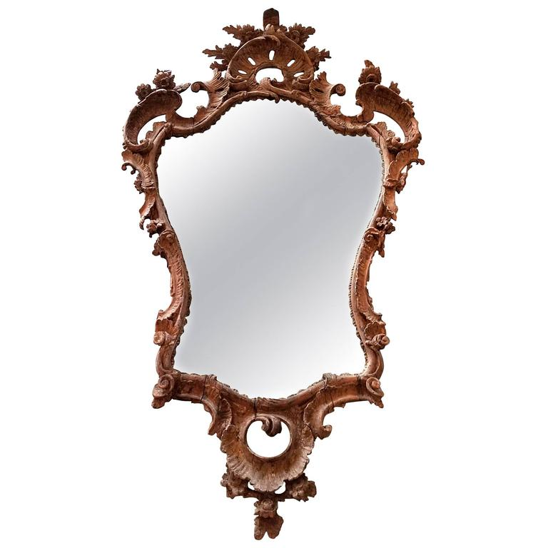 18th Century Continental Carved Wood Mirror