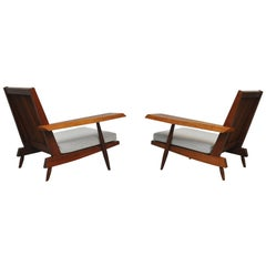 Cherry Spindle Back Lounge Chairs by George Nakashima with Live Edge Arms, 1955