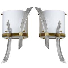 Pair of Mid-Century Italian White Triedro Sconces with Glass Rods