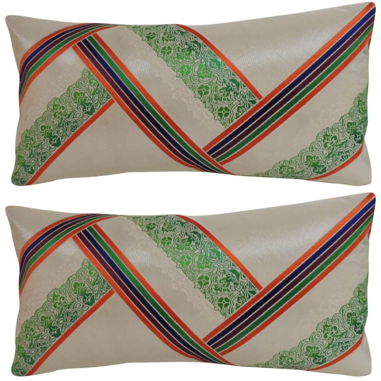Pair of Vintage Japanese Kimono Decorative Silk Embroidery Lumbar Pillows