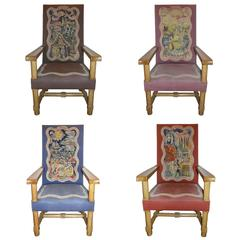 Rare and Important Set of Four Jacques Adnet Oak Upholstered Chairs, 1940s