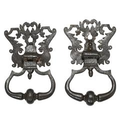 Antique Large Italian Iron Door Knockers, Pair
