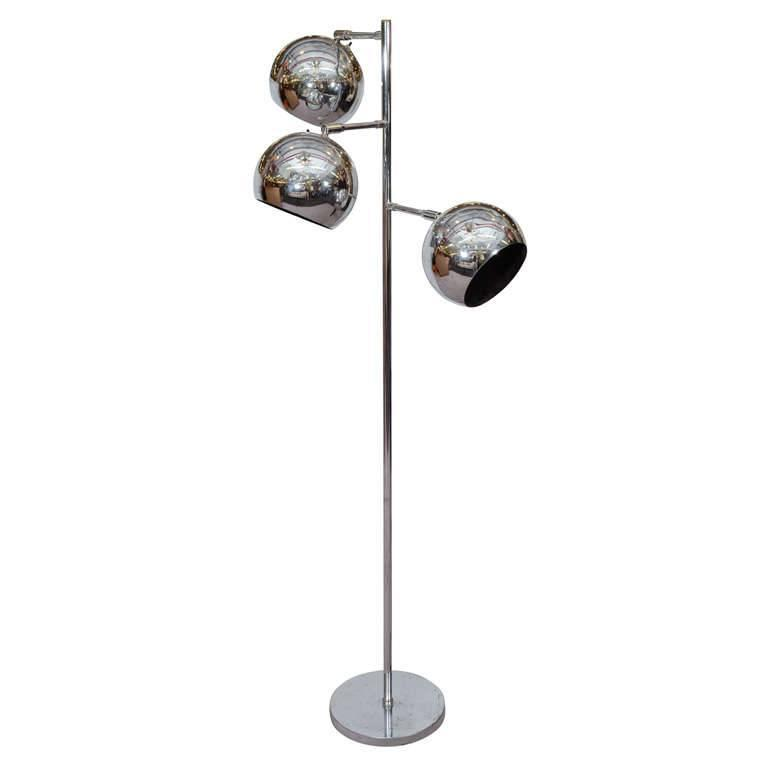 Midcentury koch and lowy chrome floor lamp with three for Retro globe floor lamp