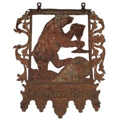 Antique Swiss Bear with Raised Glass Sign from an Inn