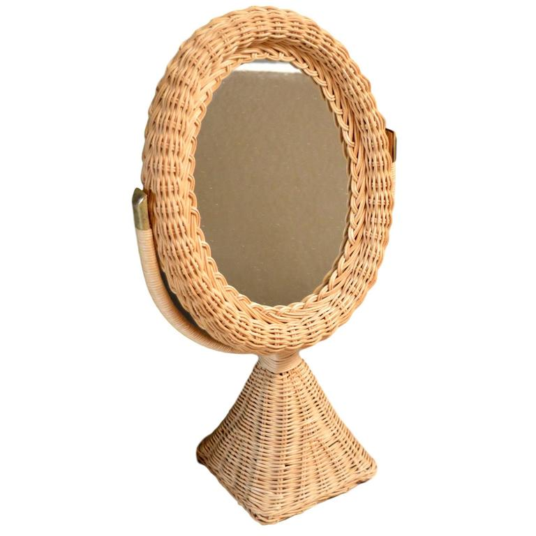 French rattan and wicker table mirror for sale at stdibs