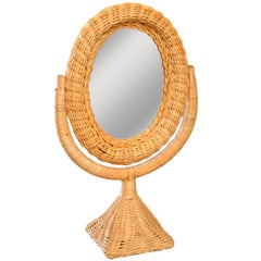 French Rattan and Wicker Table Mirror