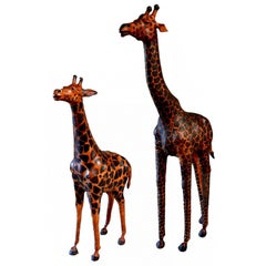 Pair of Large Leather Giraffe Sculptures