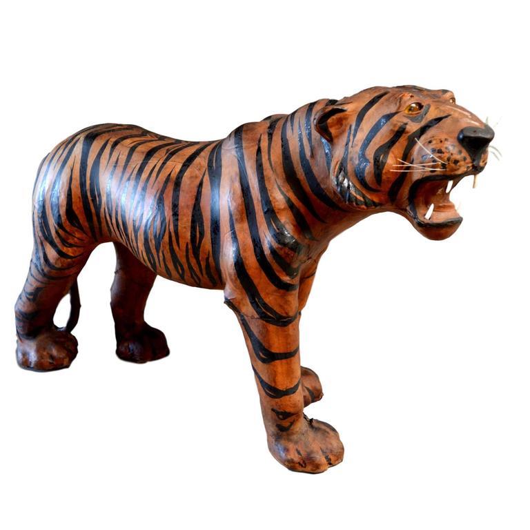 Massive Leather Tiger Sculpture