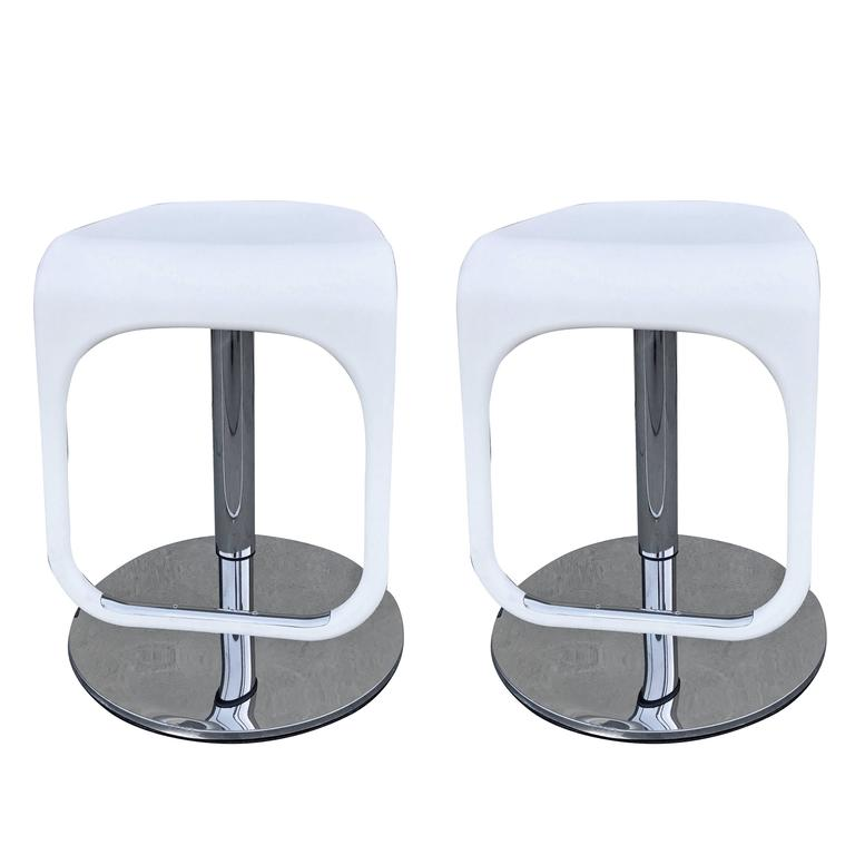 Two White and Chrome Stools Adjustable to Counter Height