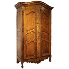 Antique Walnut Wood Armoire from Fourques, France Circa 1820